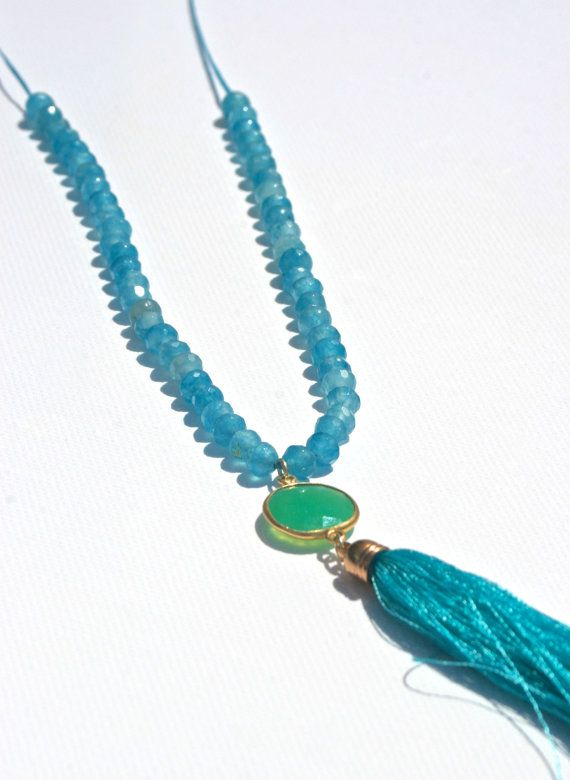 Necklace semi precious chrysoprase gemstone by marysartjewelry, $45.00