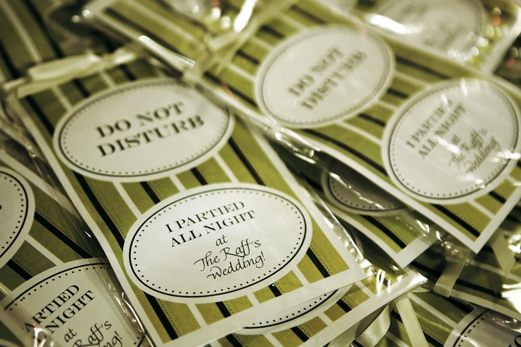 """Guests were given cute """"Do Not Disturb"""" favors to hang on their hotel room doors. #weddingfavors #donotdisturbsigns Photography: Christian Oth Studios. Read More: https://www.insideweddings.com/weddings/summer-wedding-packed-with-details-at-the-new-york-public-library/235/"""