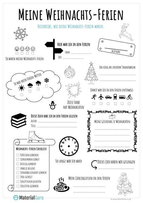 Ein kostenloses Arbeitsblatt zu den Weihnachtsferien, auf dem die Schüler einen Steckbrief zu den Weihnachtsferien ausfüllen sollen. Jetzt kostenlos downloaden – Pinsport