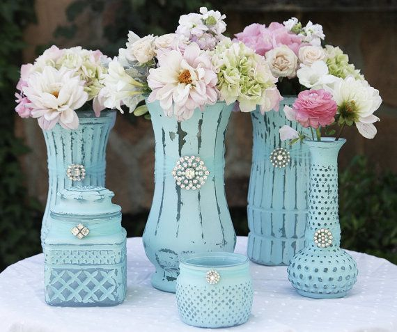 Shabby Chic Vintage Sky Blue Vases by RedEggBoutique