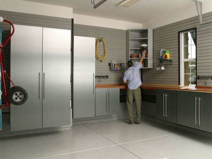 Garage Brushed Aluminum Cabinets