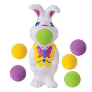 Hog Wild Bunny Popper It shoots soft foam balls up to 20 feet. Includes 6 soft foam balls. Play fetch with baby, you pop the ball and baby will crawl as fast as he can to retrieve the ball. http://awsomegadgetsandtoysforgirlsandboys.com/easter-gifts-for-baby/ Easter Gifts For Baby: Hog Wild Bunny Popper