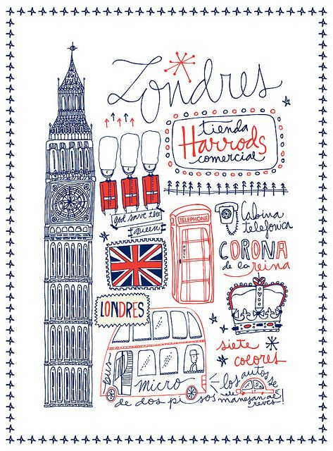 London    Estampa para Siete Colores  Ilustration fabric for the brand Siete Colores