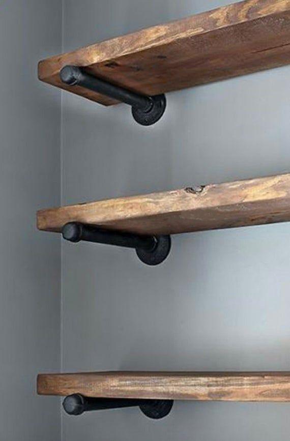 6 Pack 10 Iron Pipe Shelf Mounting Brackets Industrial Black | Etsy   – Farmhouse