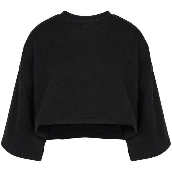 Rihanna X Puma Sweatshirt (938.210 IDR) ❤ liked on Polyvore featuring tops, hoodies, sweatshirts, black, 3/4 length sleeve tops, stretchy tops, 3/4 sleeve tops, three quarter sleeve tops and puma sweatshirt