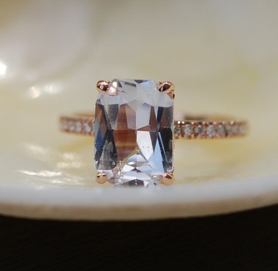 Emerald cut Sapphire Ring. Engagement Ring by EidelPrecious