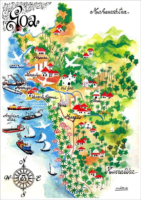 Mario Miranda - Goa Map