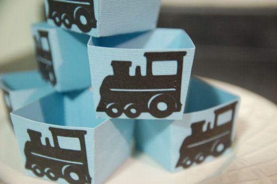 Train Candy Cups, Train Party Supplies, Train Birthday, Train Party Favors, Choo Choo, 12 Pcs, Light Blue / Black Trains. $12.00, via Etsy.