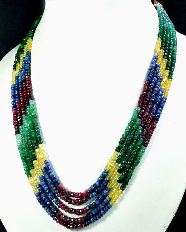 5 Strands Natural Ruby Emerald Sapphire 318ct Multi Row Gemstone Beads Necklace #KrishnaGemsNJewels #StrandString