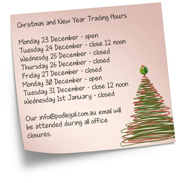 2013 Christmas and New Year Trading Hours #podlegal #Christmas2013