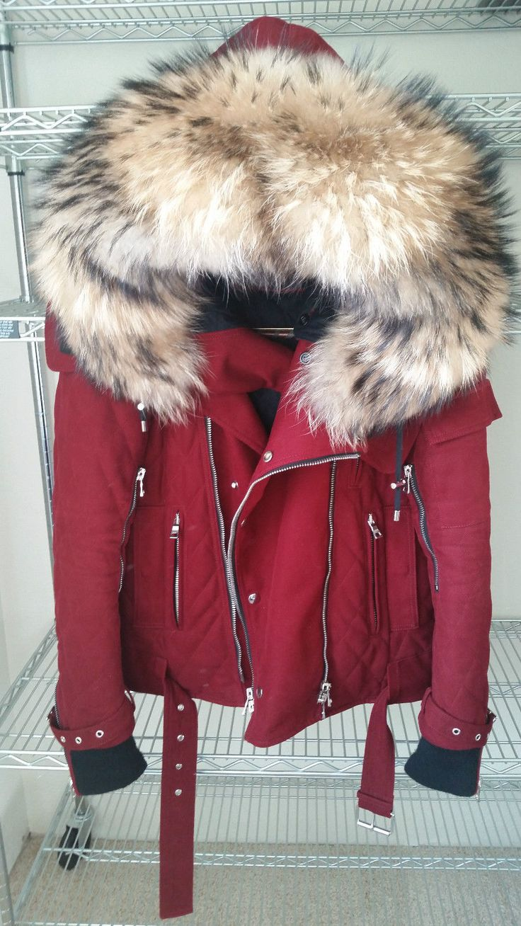 Balmain Bordeaux Red Fur Hood Heavy Thick Quilted Parka Jacket Coat | eBay