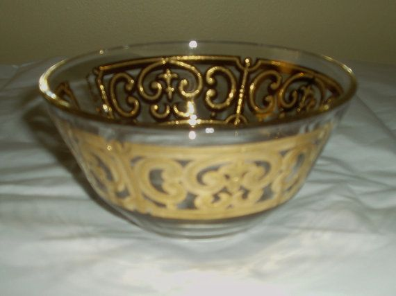 Vintage Georges Briard glass vintage gold glass by DivaDecades