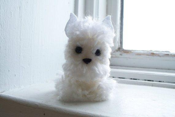West Highland White Terrier Yarn Pom-Pom Puppy