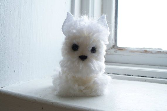 West Highland White Terrier Yarn Pom-Pom Puppy