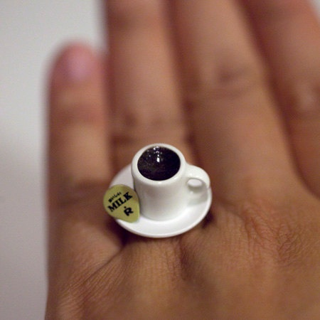 Kawaii Cute Japanese Miniature Food Ring - A Cup of Coffee with Milk.: Kawaii, Milk, And Miniatures, Tea Cups, Miniature Food, Cup Of Coffee