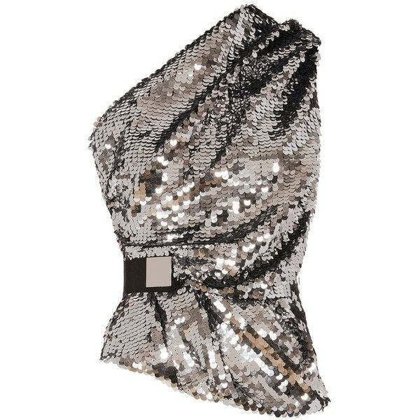 Carven Women's One Shoulder Sequin Top (£265) ❤ liked on Polyvore featuring tops, carven, sequin, silver, one sleeve top, sequin embellished top, one shoulder sequin top, shimmer tops and carven top