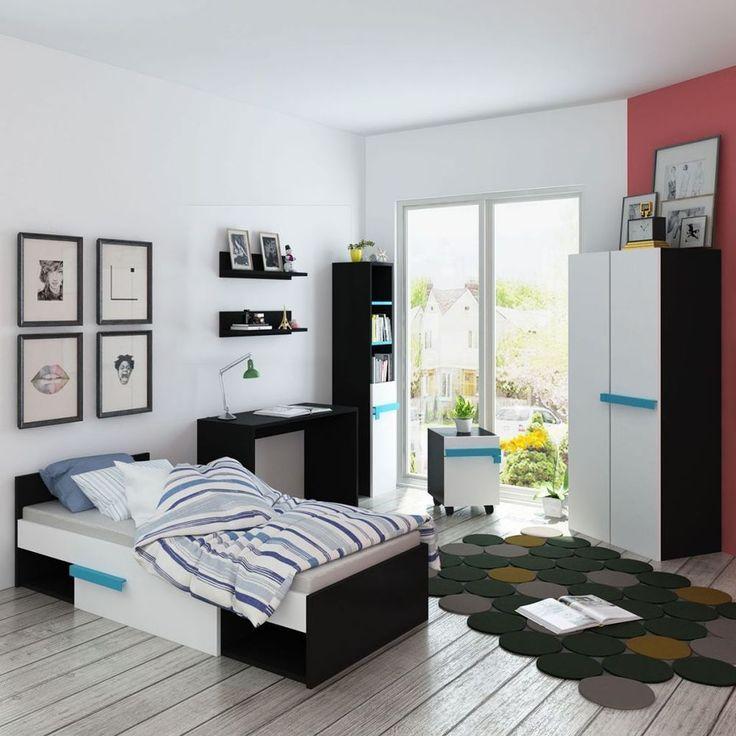 Kids Bedroom Furniture Set Single Bed Bedside Desk Wardrobe Shelf Bookcase Blue