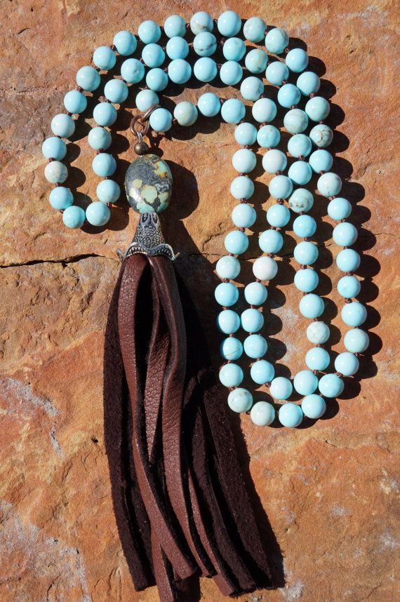 Turquoise Jasper, Hand-knotted, Leather Tassel Necklace, Boho Western