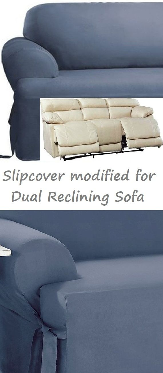 Dual Reclining SOFA Slipcover T Cushion Cotton Blue Sure Fit ...