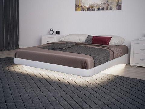 Парящая кровать без изголовья с подсветкой