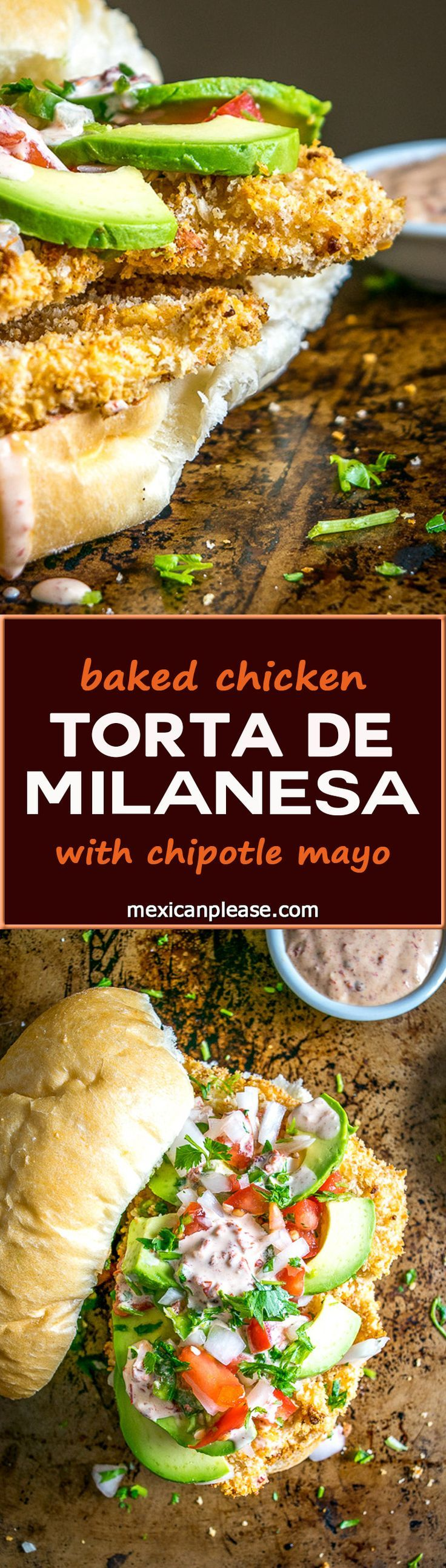 This Baked Milanesa Torta is loaded with avocado, Pico de Gallo and Chipotle Mayo. Yowsa! No frying either, just bread the chicken cutlets and give 'em 12 minutes in the oven. Buen Provecho. http://mexicanplease.com