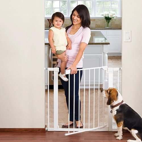 "Munchkin Protect Auto Close Metal Baby Gate - Munchkin - Toys ""R"" Us  $59.99  fits openings 291/2'' to 38''. can put in extenders to go up to 54''."