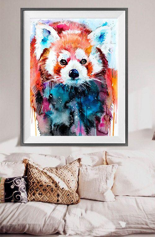 Peinture à laquarelle panda roux imprimer animal art par SlaviART