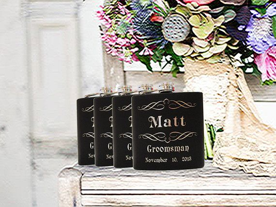 Unique Wedding Gifts For Ushers : 11 gift 6oz monogram flasks personalized wedding gifts personalized ...
