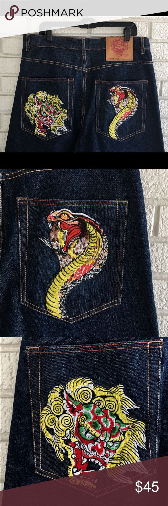 ED HARDY Cobra Snake Oriental Devil Dragon Jeans DON ED HARDY 36 x 26 Cobra Snake Oriental Devil Dragon Embroidered Jeans  ED HARDY jeans with cobra snake and oriental devil / dragon embroidered on pockets.  Label says size 36 (see measurements below) and these are button fly.  In good pre-owned condition with normal wear as pictured.  Measurements are approximate and taken when laying flat:  Waist:  36 inches total  Rise:   12 3/4 inches waist to crotch seam  Inseam:  26 inches cuff to…