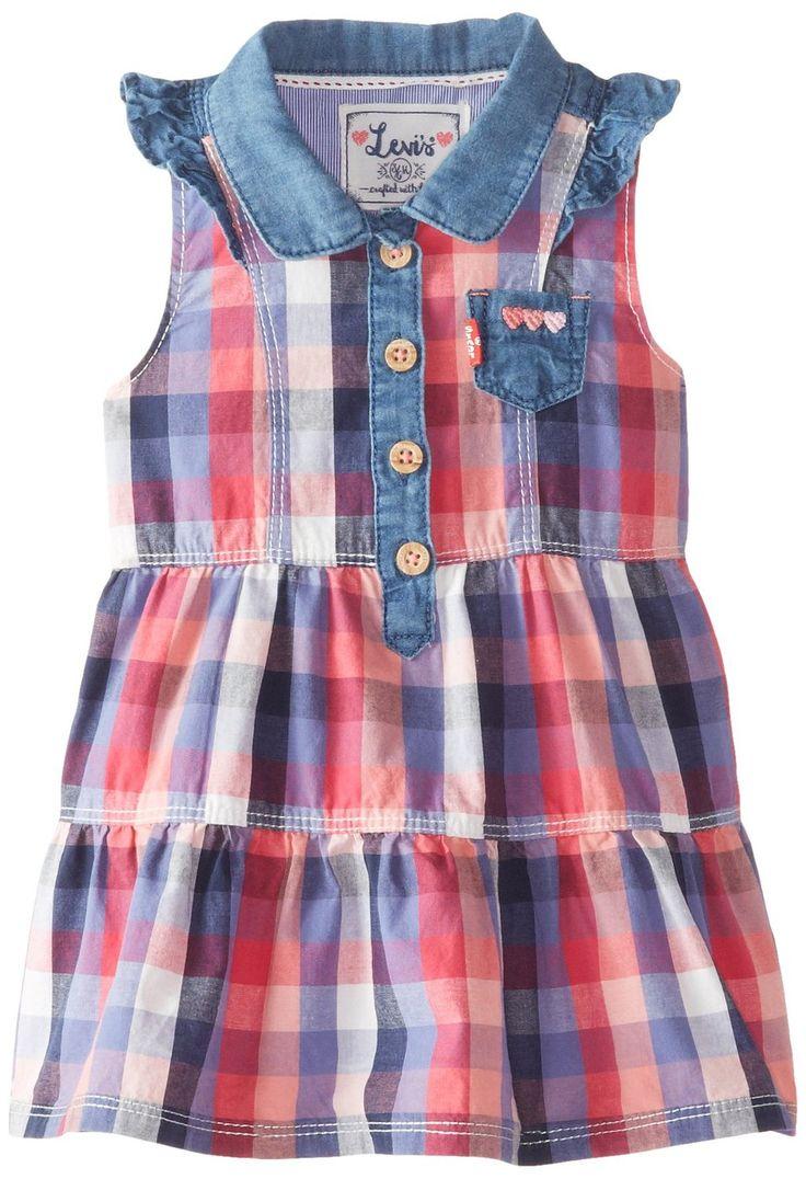 Levi's Baby Girls' Drew Denim Dress Color: Alice Blue Buff Check http://levisatamazon.wix.com/levis-store