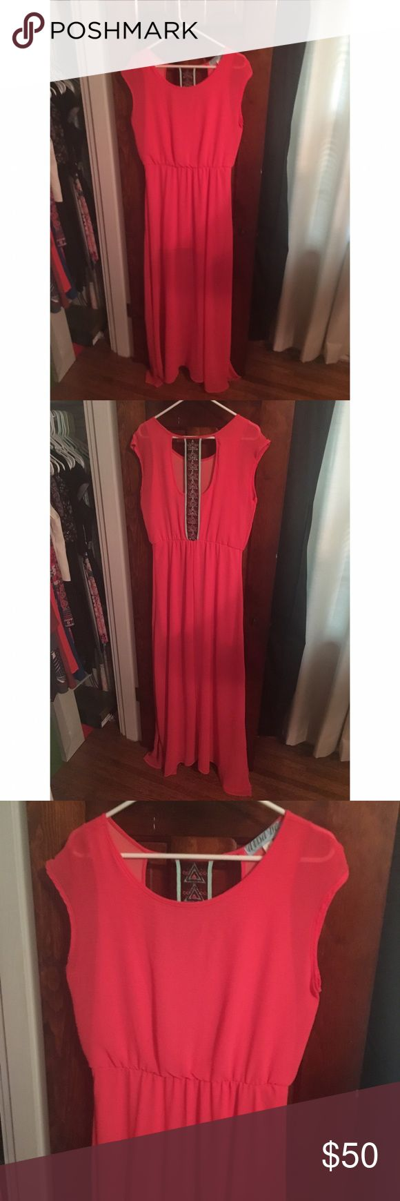 Coral Maxi Dress Beautiful maxi dress with beaded open back and slit down both sides. Worn once or twice, looks brand new! Aina Be Dresses Maxi