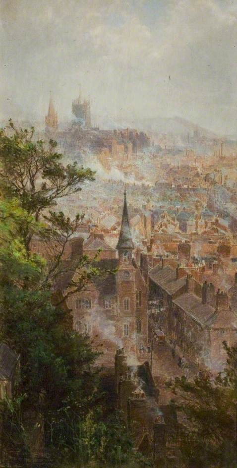 Rooftop View over City Churches, Nottingham  by Thomas William Hammond