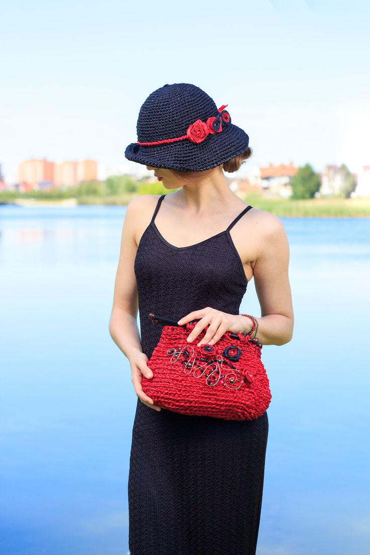 Exclusive Ladies Crochet Hat and Bag for Summer Black and Red Queen style Complect Satin ribbons designer Boho Hat and Bag Church complect by GelveHandKnitting on Etsy