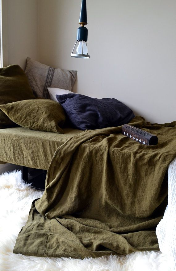 Fitted linen sheet. OLIVE GREEN luxurious stonewashed linen.