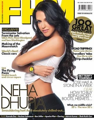 FHMindia Magazine - July 2009 Issue  Neha Dhupia - 100 great adventures – Lose half a stone a week – Nudist beach and circus capers – Terminator Salvation from the sets – World's best classic cars – The flying penis - Making of the Moonwatch – How to buy riding jacket, boots, helmets... - What, me midlife crisis? - Q&A : McG, Moon Bloodgood and Sam Worthington – Road Tripping – Travellers' tales – Trip checklist