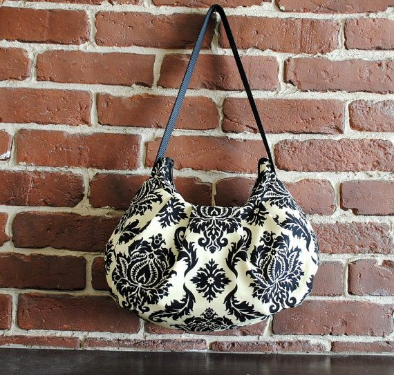 Pleated Bag // Shoulder Purse  Damask in Cavern by lireca on Etsy, $35.00