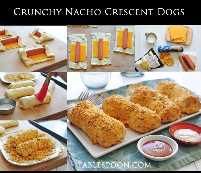 Crunchy Nacho Crescent Dogs - 8oz tube crescent rolls, 4 slices cheddar, 4 hot dogs, 1 T milk, 2 C crushed cheddar tortilla chips - Preheat oven 375. Unroll crescents on lightly floured surface. Pinch perforated edges together. Lay cheese in center. Place hot dog on top of cheese. Fold short edges over dog ends. Roll up. Pinch dough together under dogs. Lightly brush with milk, then roll in crushed chips. Place on lightly greased baking sheet. Bake 15min or until golden brown.