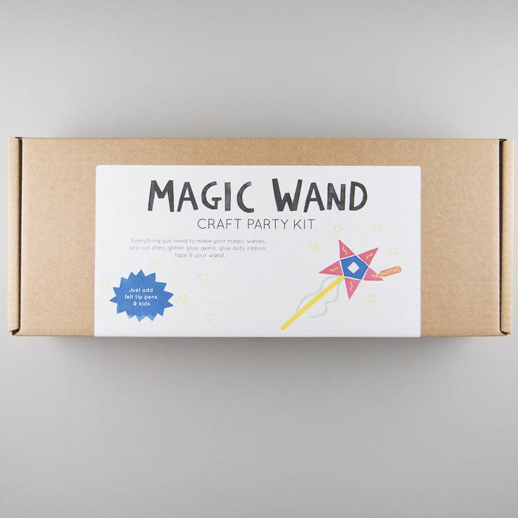 Magic Wand - Craft Party Kit. Craft boxes sold in multiples of 10.Ideal for craft parties, this kit contains components for creating batches of magic wands. Just add felt tip pens and kids for a happy session of creating. Perfect for three to eight year olds, the kit contains pre-cut star cards, gems, wooden sticks, tape, ribbon, glue dots and glitter glue to personalise your wand. Cardboard stand also included with instructions front and back, together with wooden dishes for components…