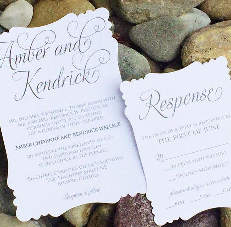 wedding invitations atlanta%0A Simple Wedding Invitation  Classic Wedding Invitation  Black and White Wedding  Invitation  AMBER VERSION
