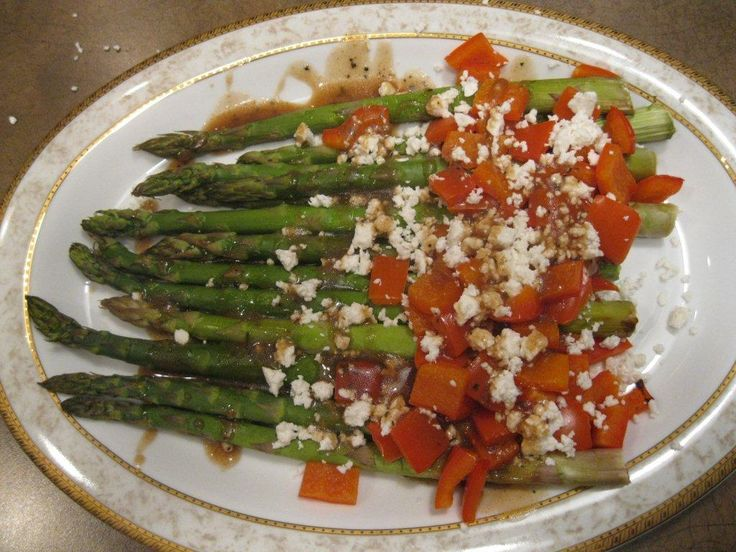 Roasted asparagus and peppers with feta.