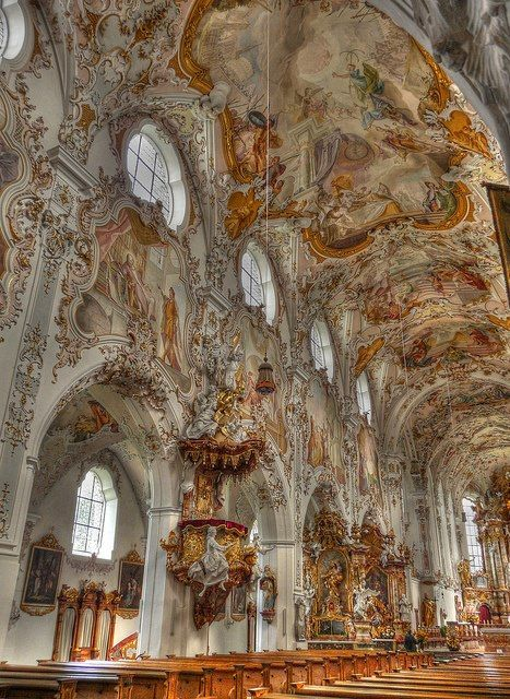 Beautiful baroque architecture inside Rottenbuch Abbey, Bavaria, Germany.