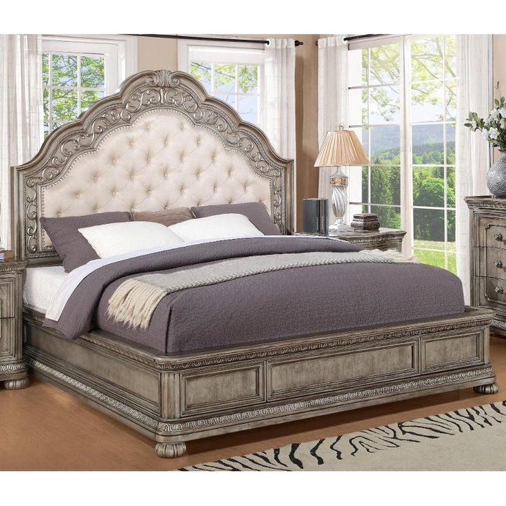 bed queen san cristobal king bedroom traditional beds antique furniture cal rcwilley sets bedding metallic willey