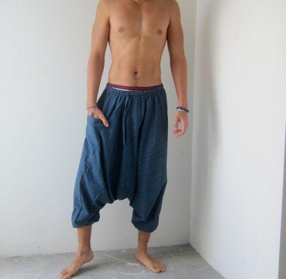 harem pants - gender neutral pants - wide yoga pants - hippie pants - one size fits all man and women pants - low crotch pants  Fine stripe
