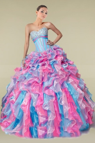 Two-toned Strapless Sweetheart Neck Boned Quinceanera Dress with Ruffle Skirt
