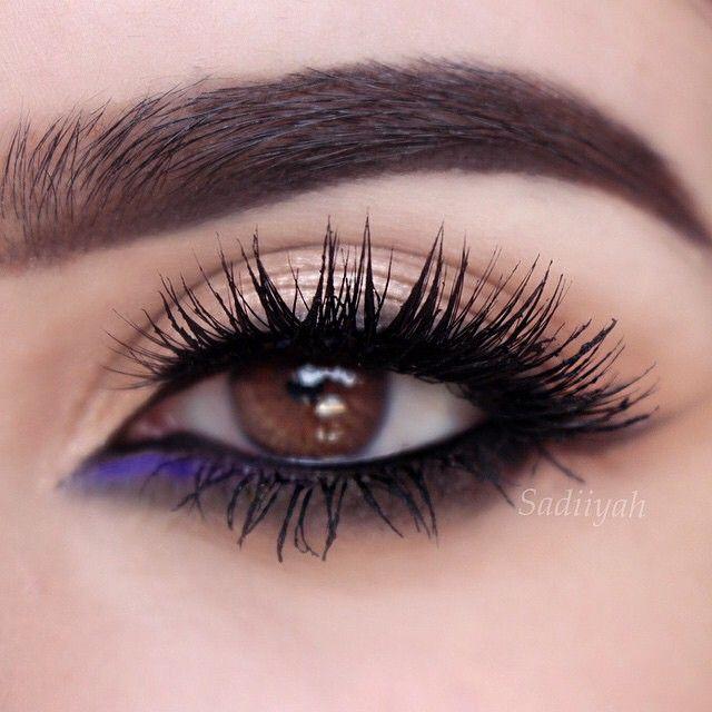 bold Black smokey eye with a dark lashline + a pop of purple | makeup @sadiiyah