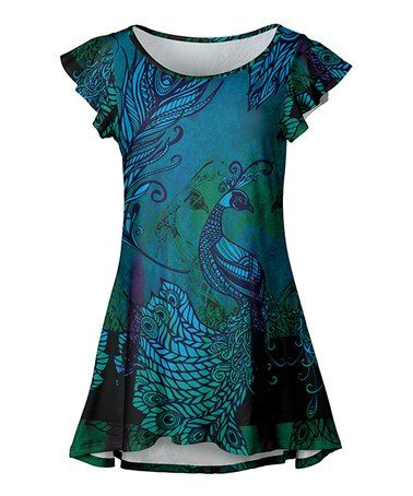 9ade6429e79 Loving this Green & Blue Peacock Flutter-Sleeve Tunic - Women & Plus on # zulily! #zulilyfinds