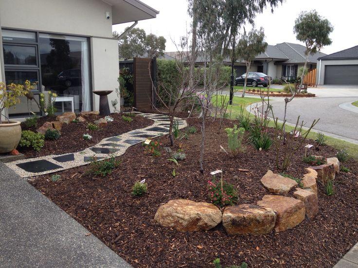 Front Garden rocks and bluestone path.