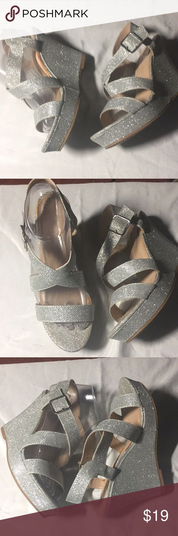 SUGAR Women Silver Wedge Dressy Sandals Beautiful like new impeccable condition only worn once silver wedge sandals.  Size 7 1/2 Medium SUGAR Shoes Wedges