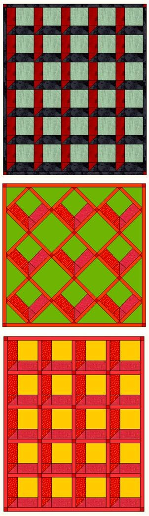 """Free tutorial by Susan C. Druding:  making attic windows quilt blocks the easy way using half-square triangles.   6"""", 9"""" and 12"""" block directions and variations, with and without sashing, on point, etc."""