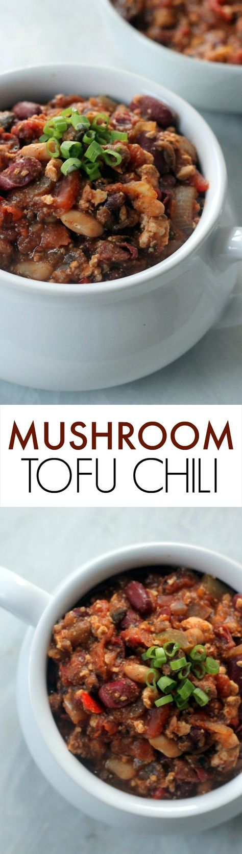 This Vegan Mushroom Tofu Chili is the perfect hearty meal for the whole family! Full of fiber, plant protein and veggies and naturally gluten-free.